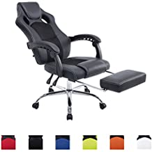 CLP Poltrona da ufficio relax con sedile sportivo ENERGY, poggiapiedi estraibile, sedia gaming, altezza regolabile (Sedia Da Ufficio Poggiatesta)