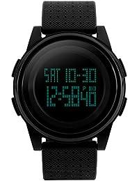 SKMEI Sport Montre Garçon / Fille Junior LED Numerique Ultra-Fine Quartz Alarme Chrono étanche Plongee (noir)