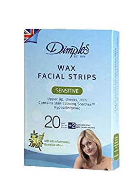 "Dimples Depilatory Wax Facial Strips ""10 Double Strips"""