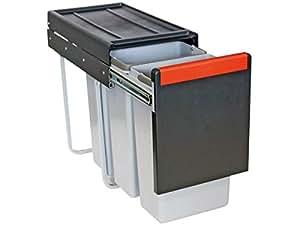 FRANKE CUBE 30 , poubelle, système séparation des déchets, en 3 bacs, télescopique(3 x 10 L)