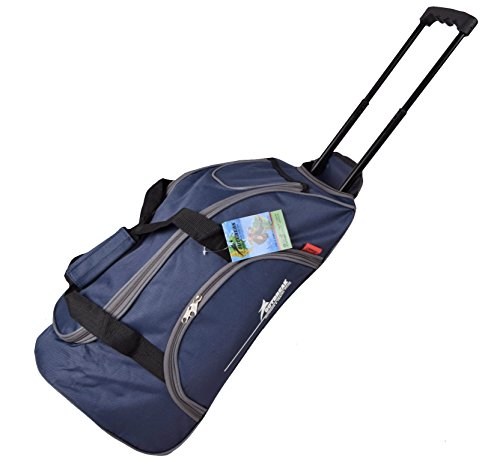 Borsone da viaggio con ruote Trolley per bagaglio, su Flight blu, colore: grigio