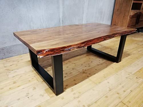 KARAKTER-MÖBEL Couchtisch Tisch Massiv Holz 130x70 Akazie Baumkante Freeform 40MM Eisen Loft