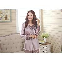 YTNGA Pijamas De Mujer Los Conjuntos de Pijamas de Calidad Ahuecan hacia Fuera con Cuello en V Trajes de Noche para Dama de Mujer Transpirable Transparente, púrpura, L