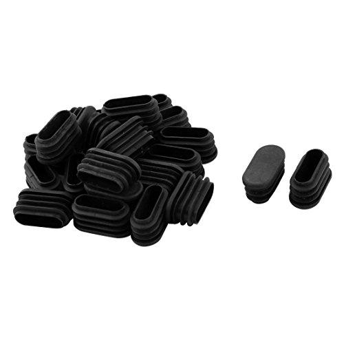 Sourcingmap® 21Stk Schule Plastik ovale Stuhlbein Fußschutz Abdeckung Stopfen Schwarz 32x15mm de -