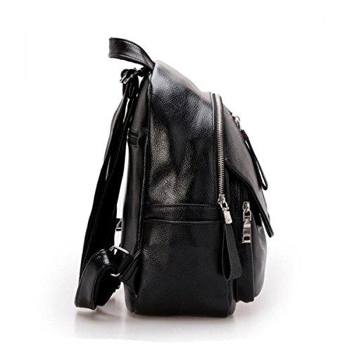 Mode Weichen Leder Damen Tasche Schultertasche Freizeit College Gewaschen Leder Rucksack Einfach Grey