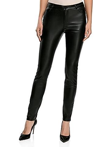oodji Ultra Femme Pantalon Slim Fit en Similicuir, Noir, FR 38 / S