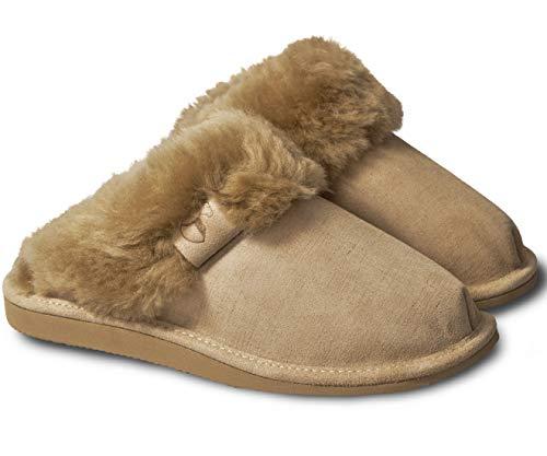 Estro Lammfell Hausschuhe Damen Pantoffeln Leder - Warm Lammfellhausschuhe Sheepskin Slippers Warme mit Wolle Lammfellschuhe Intimo (39, Beige)