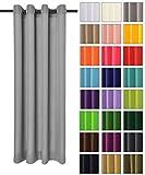 Rollmayer modern Vorhang (Silbergrau 31) Schal mit Ösen 140x250 cm lichtundurchlässig Gardine, Ösenvorhang Ösenschal für Kinderzimmer, Jugendzimmer, Schlafzimmer, Küche in 40 Farben!