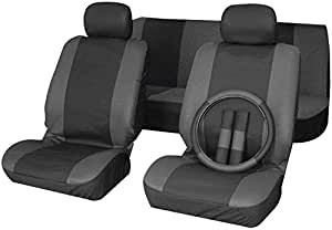 xtremeauto noir gris housse de si ge de voiture avec housse de volant volkswagen. Black Bedroom Furniture Sets. Home Design Ideas