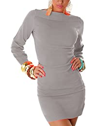 Jela London Damen Strickkleid elegant & langärmelig Einheitsgröße (32-38)