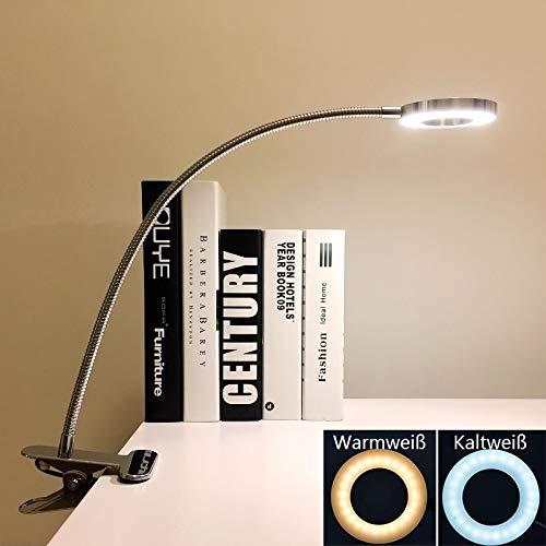 LED Klemmleuchte Bett Leselampe Kleine Schreibtischlampe Klemmlampe