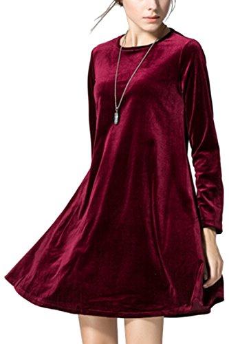 Damen elegante Long Sleeve Mini Etuikleid Red