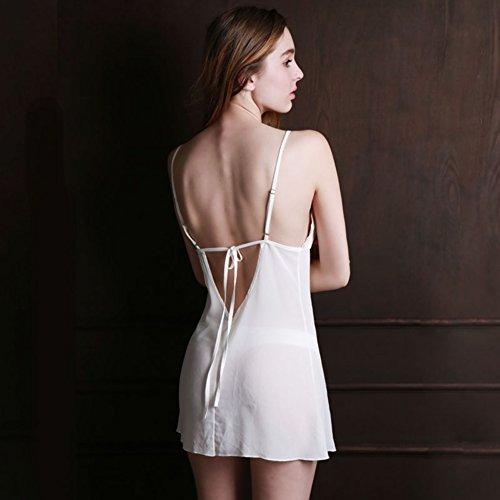 Donna Sling Camicia Da Notte Pigiama Sexy Donna Sexy Lingerie bianca
