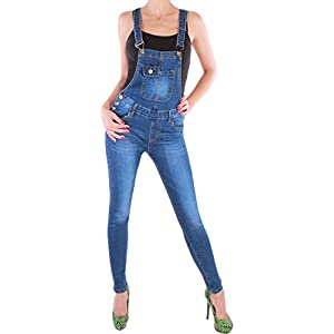 Black Denim BD Damen Jeans Röhre Latzhose Jumpsuit Overall in blau