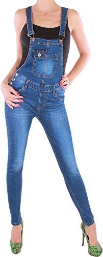 BD Damen Jeans Röhre Latzhose Jumpsuit Overall in blau (40/L, Blau)