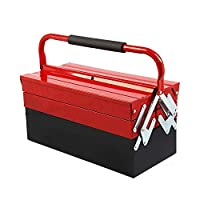 Shoze Metal Tool Box 3 Tier 5 Tray Professional Portable Storage Cabinet Workshop Cantilever Toolbox with Carry Handles 430mm Red