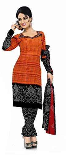 Khushali Presents Georgette Chudidar Dress Material(Orange,Black)