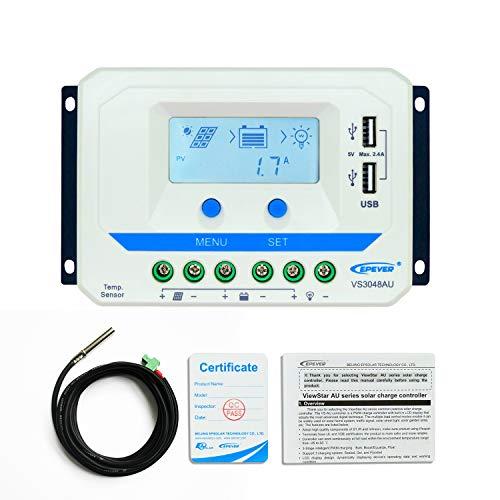 EPEVER 30A PWM Solar Charge Controller 12V/24V/36V/48V Auto mit USB-Ausgang LCD Display für Solarpanel Akku Batterie Ladekabel System (30A, vs3048au) - Controller Solar Charge 36v