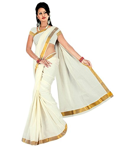 Maxis Women's Cotton Saree With Blouse Piece (Maxikrlpln216_Off White)