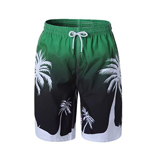 Urlaub Pjs (Badehose Herren GreatestPAK Hawaiianischer Druck Sommer Strand Urlaub Schnell Tocknend Kurze Hosen Jogging Shorts Sporthosen,Grün,EU:M(Tag:XL))