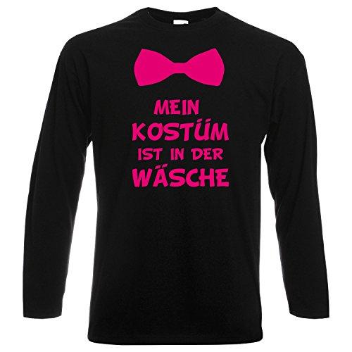 Langarm Shirt MEIN KOSTÜM IST IN DER WÄSCHE mit Fliege Karneval Fasching Verkleidung Party Schwarz (Druck Pink) M