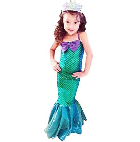 IBTOM CASTLE Kinder Kostüm für Mädchen Meerjungfrau Kostüm Prinzessin Kleid Meerjungfraukostüm Fasching Verkleidung Karneval Cosplay Geburtstag Party Halloween Faschingskostüm Ballkleid 5-6 Jahre