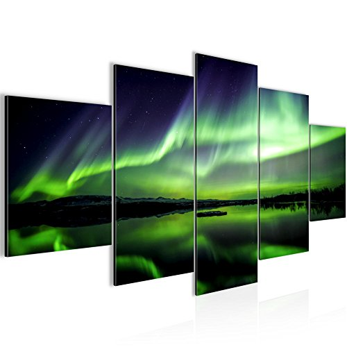 Bilder Polarlicht Wandbild 200 x 100 cm Vlies - Leinwand Bild XXL Format Wandbilder Wohnzimmer Wohnung Deko Kunstdrucke Grün 5 Teilig -100% MADE IN GERMANY - Fertig zum Aufhängen 609151a