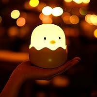 Luz de la noche linda para los niños del bebé, la lámpara del polluelo del shell del huevo del vaso La luz de la noche de los niños del bebé seguro ABS + silicona, control táctil recargable del brillo del LED (Cálida luz amarilla)