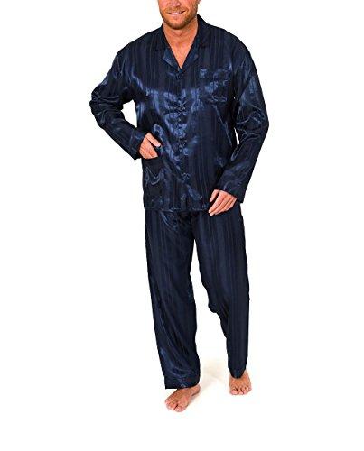 Normann Copenhagen Satin Pyjama lang, durchgeknöpft, Schattenstreifen, 251 101 94 010, Farbe:Marine, Größe2:56 - Streifen-satin Baumwolle Pyjama