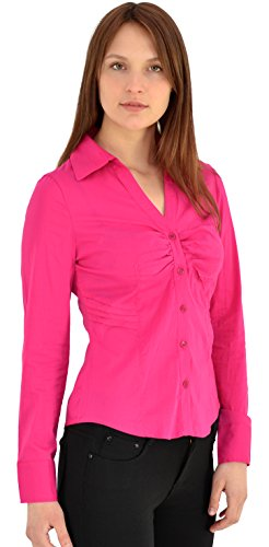 Damen Stretch - Business - Bluse Damen Popeline Bluse Hemd Langarm in 5 Farben B142 (Popeline-bluse Stretch Baumwolle)