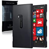 Nokia Lumia 920 Hybrid Rubberised Back Cover / Case / Shell / Shield - Solid Black