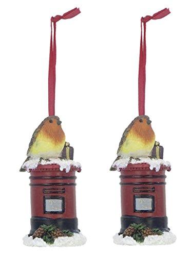 Packung von 2 - 9CM hängender Robin Weihnachtsbaum Dekoration - Postfach
