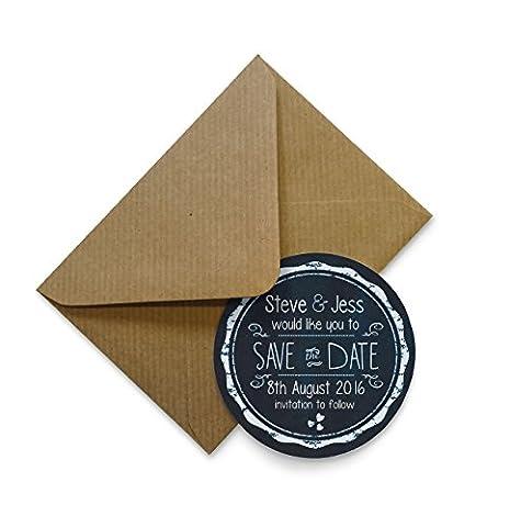 Set von 12+ personalisierbar Save the Date Magneten mit Umschlägen–Kreidetafel 70mm, 48 Magnets