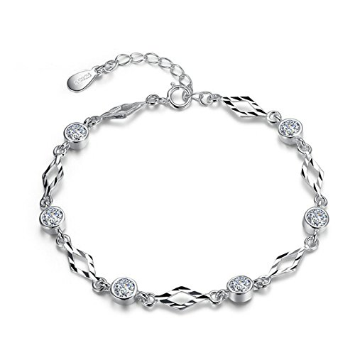 Adisaer Damen Armband Silber 925 Runde Cluster Kristall Armreif Silber Für Frauen Einstellbar Diamant Kette Länge 15+3.5CM Hochzeit (Runde Kristall-armband)