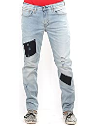 Estrolo Ripped And Denim Patched Narrow Fit Men's Jeans