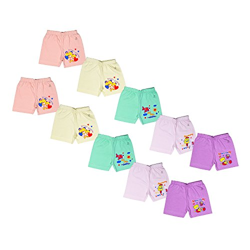 Sathiyas akash 100% cotton unisex baby Drawer's - Pack of 10 (Light, 0-3 Months)