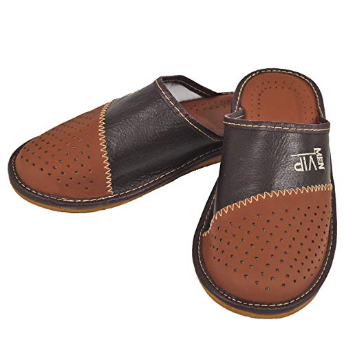 DF-SOFT Herren Herrenpantoffel Pantoffel Hausschuhe Haus Schuhe Leder Pantoffel Lederpantoffel Pantoletten Schlappen Modell 133 (42 EU)