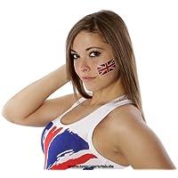 10 x Großbritannien Tattoo Fahnen Fan Set - UK Flag - Great Britain Union Jack temporary tattoo Flag (10)
