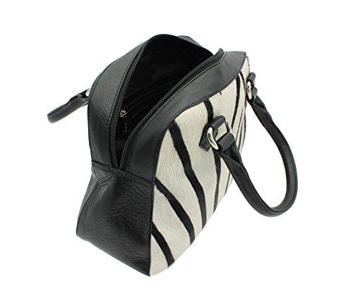 Pelle mala Matrah Animal Collection stampa della pelle Grab Bag 7102_90 Zebra Zebra