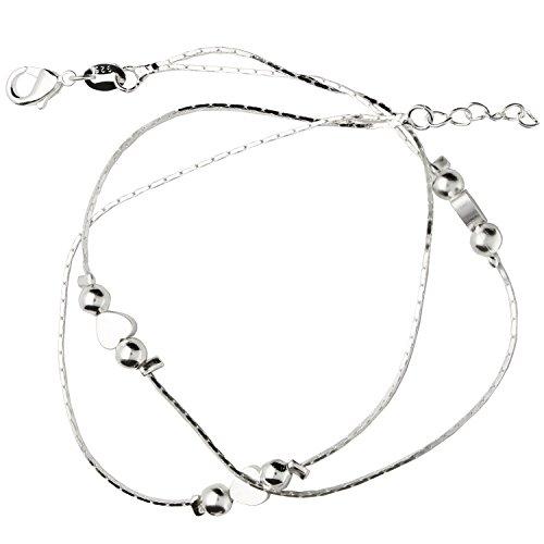 MYA art Damen Fußkettchen Fußkette Fuß Kette 925 Sterling Silber Herz Platten mit Perlen Fußband Fußbändchen MYASIKET-69