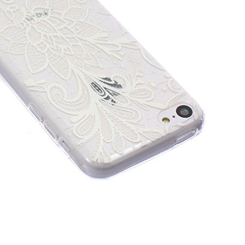 ZeWoo TPU Schutzhülle - BF015 / Wilden Wolf - für Apple iPhone 5C Silikon Hülle Case Cover BF002 / Weiß Blume