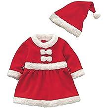 Cosanter Pijamas y Algodón Conjunto de Navidad Forrado con Durmiente Disfraz Bebé Niño Papá Noel Invierno