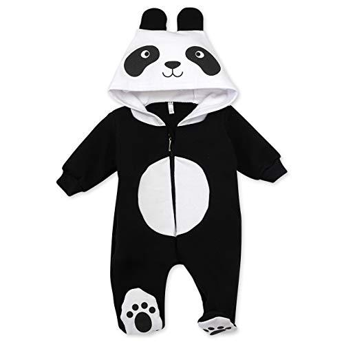 Baby Sweets Baby Tier Strampler Unisex schwarz | Motiv: Panda | Tierstrampler mit Kapuze für Neugeborene & Kleinkinder | Größe 6-9 Monate (Baby Tier Outfit)