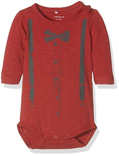 NAME IT Baby-Jungen Langarmshirts Nithulon LS Body Mznb, Rot (Brick Red), 68
