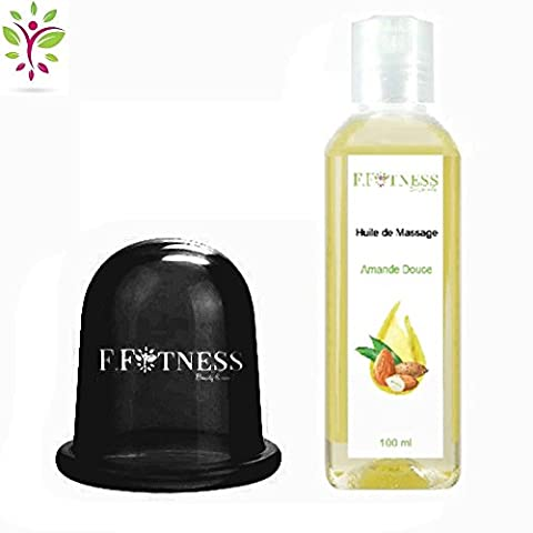 Coffret beauté corps: ventouse cup anticellulite noire, huile de massage amande 100 ml, gant de