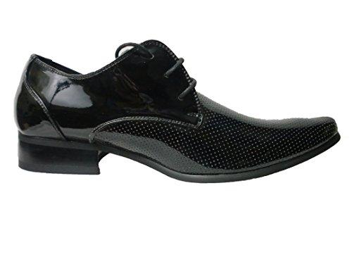 Pour Homme New Casual Smart en cuir noir formelles Chaussures à lacets Taille UK 67891011 Noir - noir