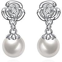 Sunnyshinee - Pendientes de perlas ovalados para mujer, diseño de rosas