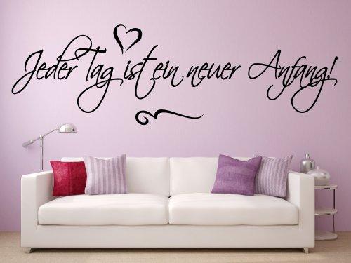 Wandtattoo 68107-58×18 cm, ~ Text: Jeder Tag ist ein neuer Anfang ~ Wandaufkleber Wandtatoos Sticker Aufkleber für die Wand, Fensterbild, Tapetensticker, Türaufkleber, Tattoo aus Markenfolie – aus