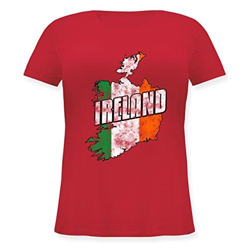 Länder - Ireland Umriss Vintage - L (48) - Rot - JHK601 - Lockeres Damen-Shirt in großen Größen mit Rundhalsausschnitt -