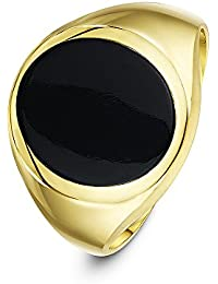 Theia Men's 9 ct Yellow Gold Oval Shape Black or Hematite Stone Signet Ring, 14 x 12 mm